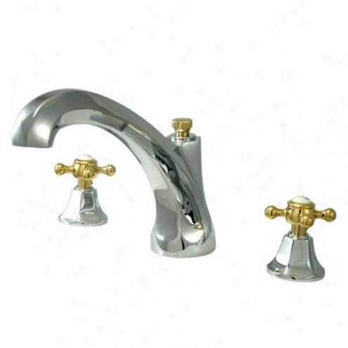 Elements Of Design Es4324bx Nwe York Two Handle Of the Latins Tub Filler, Polished Chrome And Polished Brass