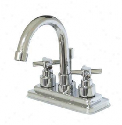 Elements Of Design Es8661ex Tampa Two Handle 4 Centerset Lavatory Faucet With Brass Pop-up, Polishe