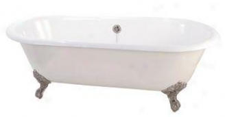 Elizabethan Classics Disn Cast Iron Clawfoot Tub Dual Assign Iron, White/satin Nickel