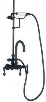 Elizabethan Classics Ectw24orb Tub Filler With Handshower And Metal Lever Handles, Oil Rubbed Bronze