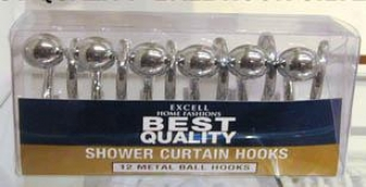 Ex-cell 1me-06100-557 Silver Finish Metal Ball Shower Curtain Hokos, Satin