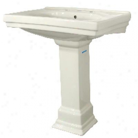 Foremost F-1950-8-bi Structure Vitreous Porcelain Pedestal Lavatory, 8 In. Centers In Biscuit (pedestal