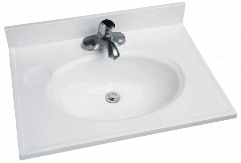 Foremost Ws-1925 19 X 25 Cultured Marble Recessed Oval Vanity Top, White