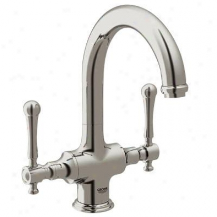 Grohe 31055en0 High Profile Dual Handle Bar Faucet, Brushed Nickel