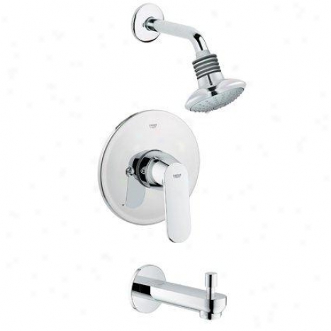 Grohe 35 019 000 Euphoria Single Handle Tub And Shower Valve Trim With Showerhead And Diverter Spout