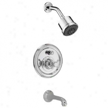 Jado 853/400/144 Pressure Balance Tub/shower Set - Cross Handle, Brushed Nickel