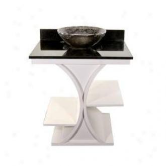 Jsg Oceana Van-pkg-rz-3 White Cruz Vanity With Black Granite Top And 16 Oceana Vessel Sink, Black
