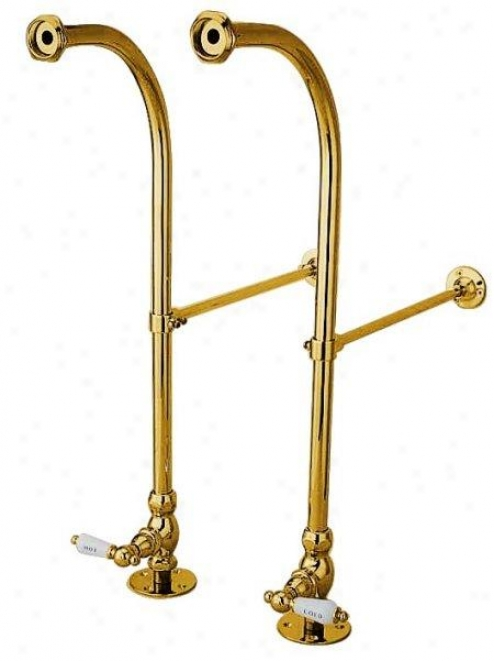 Kingston Brass Cc452hcl Vintage Freestanding Water Supply With Stop, Adjustable Height Wall Brace, P