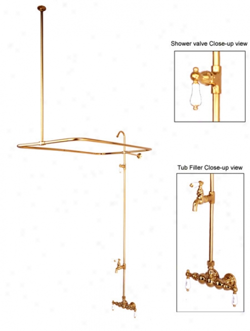 Kingston Brass Cc62t1 Vintage Shower Set-leg Tub Filler And Shower System, 3-3/8 Spread, Chrome