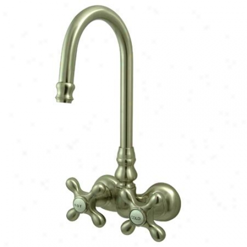 Kingston Brass Cc77t8 Vintage Hi-rise Spout Wall Mount Leg Tub Filler, 3-3/8 Spread, Satin Nickel