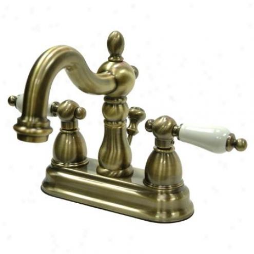 Kingston Brass Kb1603pl Hdritage 4 Centerset Lavatory Faucet Porcelain Lever Hanrle, Vintage Brass