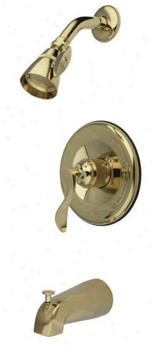 Kingston Brass Kb1632dfl Nufrench Tub And Shower Faucet, Polished Brass