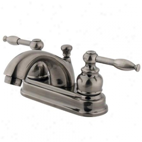 Kingston Brass Kb2600kl Knight 4 Centerset Lavatory Faucet Brass Pop-up & Kl Handle, Polished Nicke