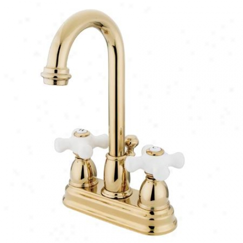 Kingston Brass Kb3612px Universal salvation Deck Mount Bathroom Faucet With Brass Pop-up, Polished Brass
