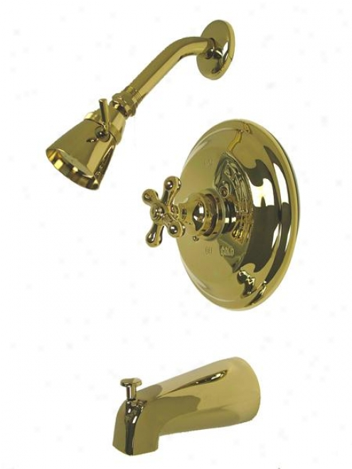 Kingston Brasd Kb3732ax Restoration Pressure Balanfed Tub/whower Faucet With Solid Brass Shower Head
