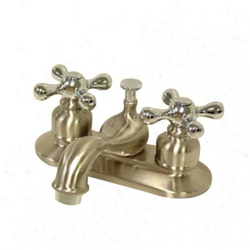Kingston Brass Kb607al Restoration Teapot 4 Centerset Faucet With Brass Pop-ypp, Chrome And Satin Ni