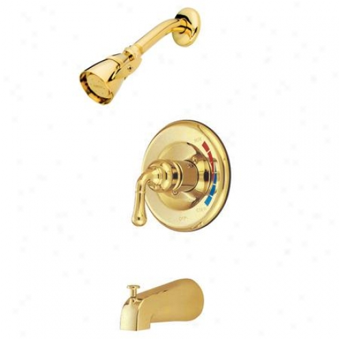 Kingston Brass Kb632 Magellan Tub/shower Faucet Pressure Balanced With Temperature Limit Stop, Polis