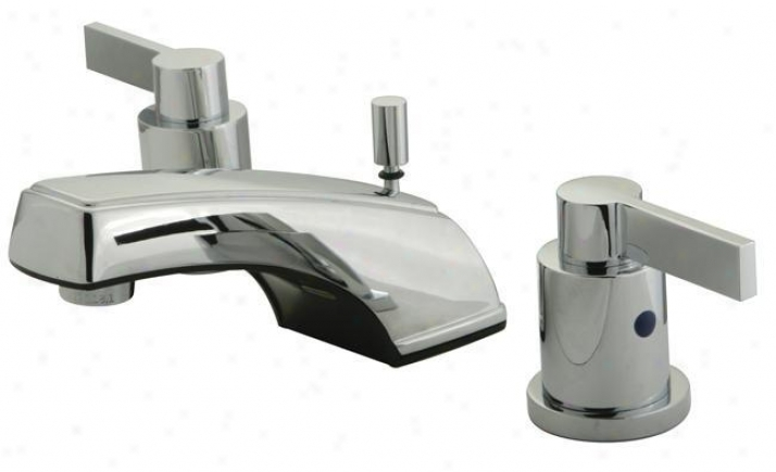 Kingston Brass Kb8921ndl Nuvofusion Widespread Lavwtory Faucet With Brass Pop-up, Classic Chrome