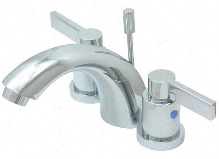 Kingston Brass Kb8951ndl Nuvofusion C Spout Mini Widespread Lavatory Faucet With Assurance Pop-up, Polis