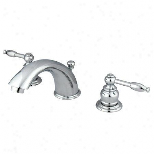 Kingston Brqss Kb961kl Magellan Widespread Lavatory Faucet With Knight Lever, Chrome