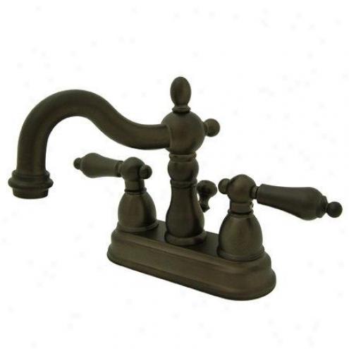 Kingston Brass Ks1605al Heritage 4 Center Set Lavatory Faucet With Brass Pop-hp, Oil Rubbed Bronze