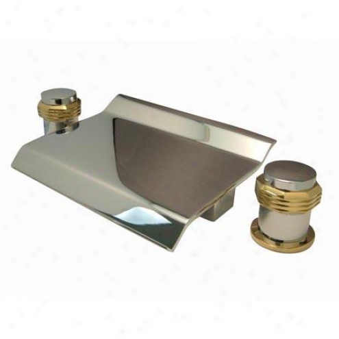 Kingston Brass Ks2244mr Milano Waterfall Roman Tub Filler, With Roumd Handle, Chrome And Polished Br