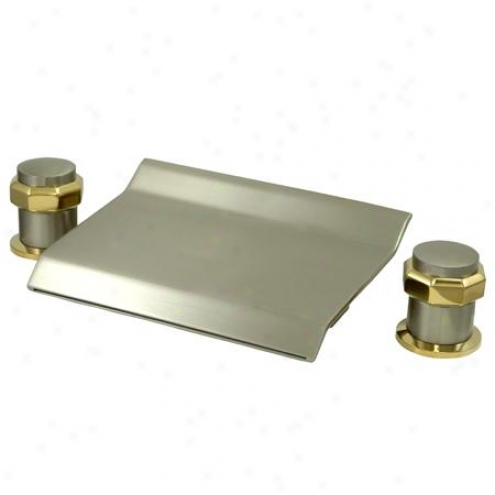Kingston Brass Ks2249ar Milano Waterfall Roman Tub Filler, Sain Nickel And Polished Brass