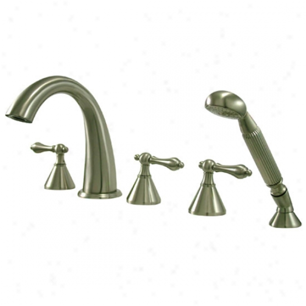 Kingston Brasw Ks23685nl Naples Of the Latins Tub Filler, 5 Piece Set With Hand Shower, Satin Nickel