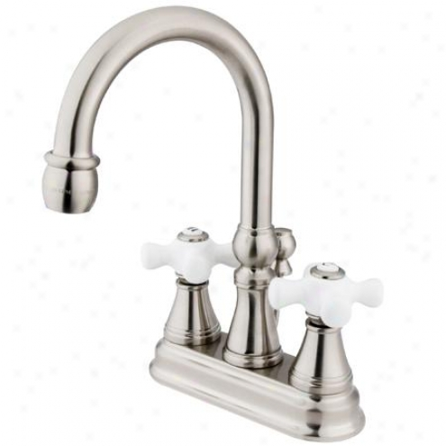 Kingston Assurance Ks2618px Governor Centerset Bathroom Faucet, 5 Spout Reach, Satin Nickel
