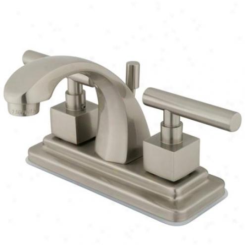 Kingston Bras Ks4648cql Claermont Two Handles Centerset Lavatory Faucet With Pop-up, Satin Nickel