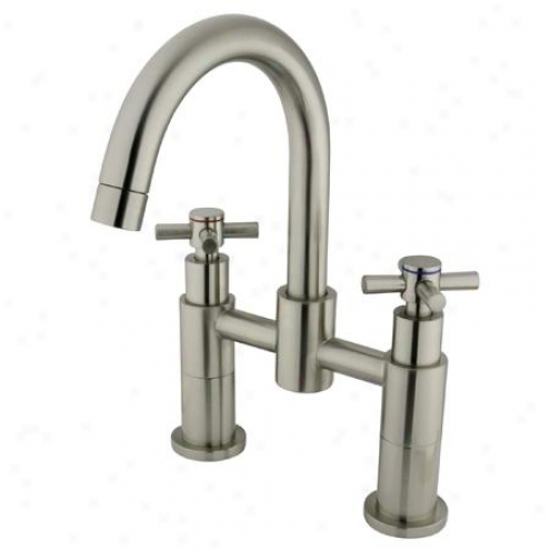 Kingston Brass Ks8268ex Concord Two Handle Deck-mount Tub & Shower Faucet, Satin Nickel