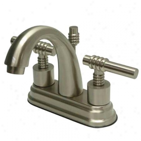 Kingston Brass Ks8618ml Milano Twin Brass Handle 4 Bathroom Fuacet, 4-1/2 Spout Reach, Satin Nicke