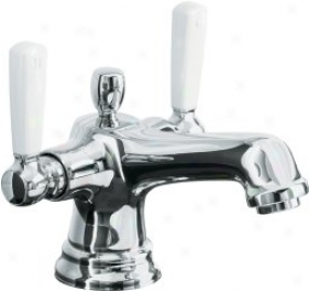 Kohler K-10579-4p-cp Bancrift Monoblock Lavatory Faucet With Whi5e Ceramic Lever Handles, Polished C