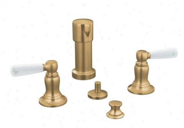 Kohler K-10586-4p-bv Bancroft Bidet Faucet With White Ceramic Lever Handles, Vibrant Brushed Bronze