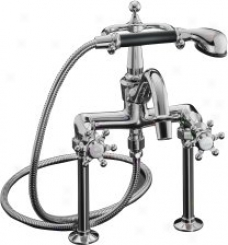 Kohler K-110-3-cp Antique Bath Faucet With Handshower And Six-prong Handles, Polished Chrome