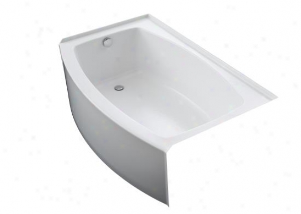 Kohler K-1100-la-0 Extent Curved In5egral Apron Bath With Left-hand Drain, White