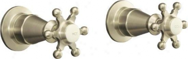 Kohler K-124-3-bn Antique Valve Trim With Six-prong Handles, Vibrant Brushed Nickel