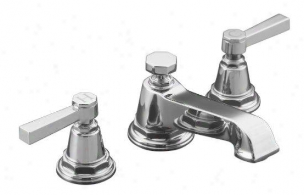 Kohlsr K-13132-4a-cp Pinstripe Pure Widespread Lavatory Faucet With Lever Handles, Polished Chrome