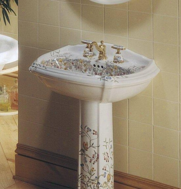 Kohler K-14192-fl-0 English Trellis Design In c~tinuance Portrait Pedestal Lavatory, White