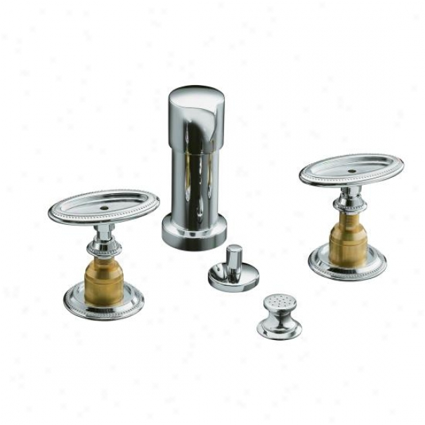 Kohler K-142-9b-cp Antique Bidet Faucet With Handles, Requires Ceramic Touch Insets And Skirts, Pol