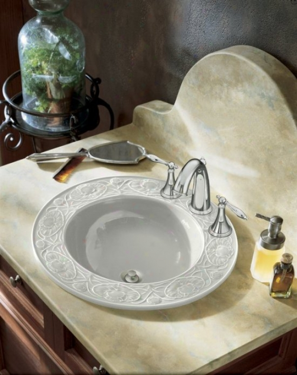 Kohler K-14282-12-w2 Camber Self-rimming Lavatory Through  Water Lilies Design And 12 Faucet Drilling,