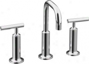 Kohler K-14407-4-cp Purist Widespread Lavatory Faucet With Boastful Gooseneck Spout And High Lever Handl