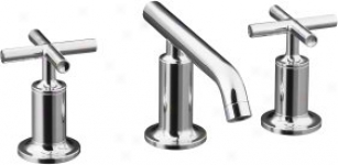 Kohler K-14410-3-cp Purist Widespread Lavatory Facet With Low Spout And Low Cross Handles, Polished