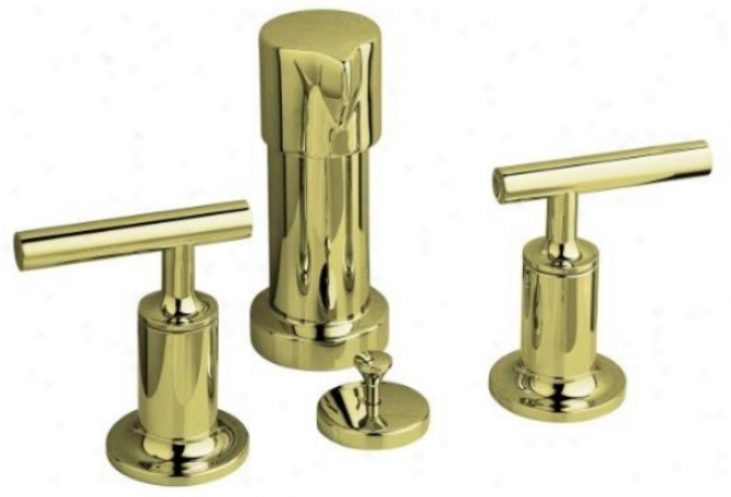 Kohler K-14431-4-af Purist Bidet Faucet With Vertical Sprzy And Lever Handles, Vibrant French Gold