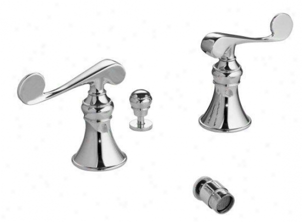 Kohler K-16137-4-cp Resuscitation Bidet Faucet With Vertical Spray And Trraditional Lever Handles, Polished