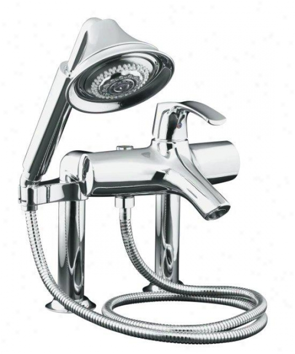 Kohler K-18486-4-cp Emblem Bath Faucet With Handshower, Refined Chrome