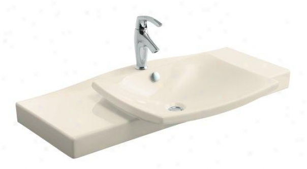 Kohler K-19034-1-47 Escale Vanity Top And Basin With Single-hole Faucet Drilling, Almond