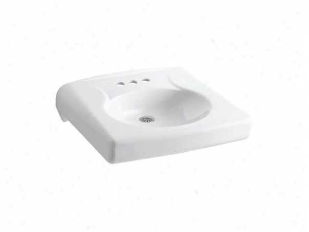Kohler K-1997-4n-0 Brenham Wall-mount Lavatory Wlth 4 Centerset, Less Soap Dispenser Hole And Overf