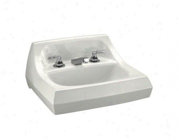 Kohler K-2005-l-0 Kingston Wall-mount Lavatory With 4 Centers And Left Hand Soap/lotion Dispenser H