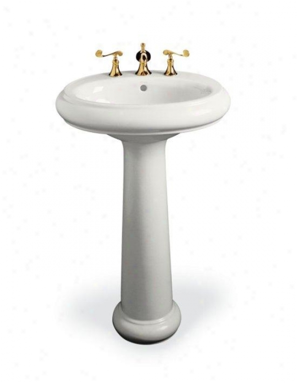 Pedestal Lavatory : ... Pedestal Lavatory with Single-Hole Faucet Drilling, White @ Bathroom